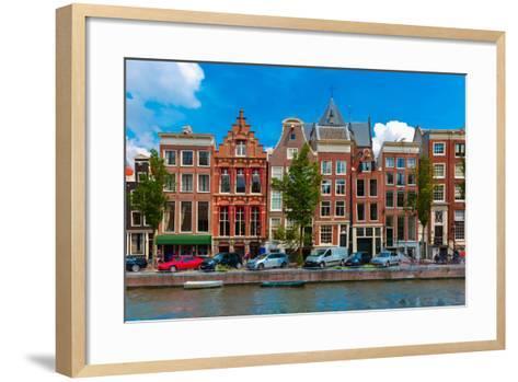 Night Amsterdam Canal with Dutch Houses-kavalenkava volha-Framed Art Print