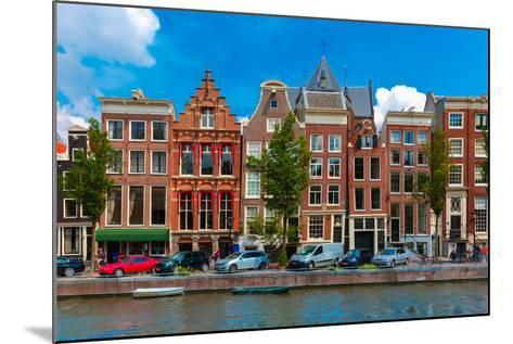 Night Amsterdam Canal with Dutch Houses-kavalenkava volha-Mounted Photographic Print