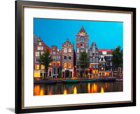 Night City View of Amsterdam Canal with Dutch Houses-kavalenkava volha-Framed Art Print