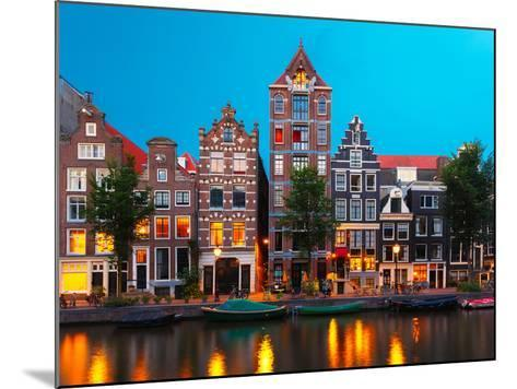 Night City View of Amsterdam Canal with Dutch Houses-kavalenkava volha-Mounted Photographic Print