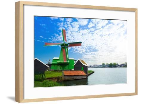 Authentic Zaandam Mills on the Water Channel-SerrNovik-Framed Art Print