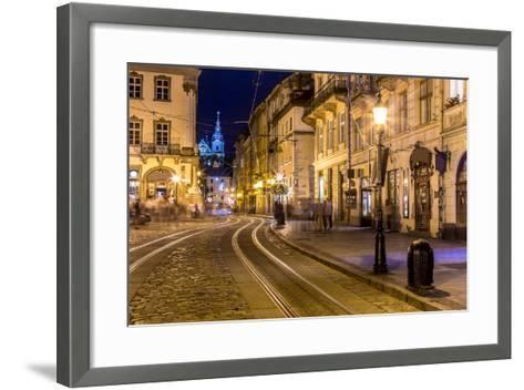 Rynok Square in Lviv at Night-bloodua-Framed Art Print