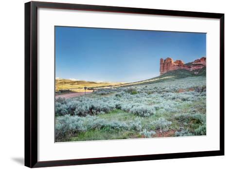 Prairie, Shrubland and Sandstone Rock Formation in Northern Colorado near Wyoming Border - Sand Cre-PixelsAway-Framed Art Print