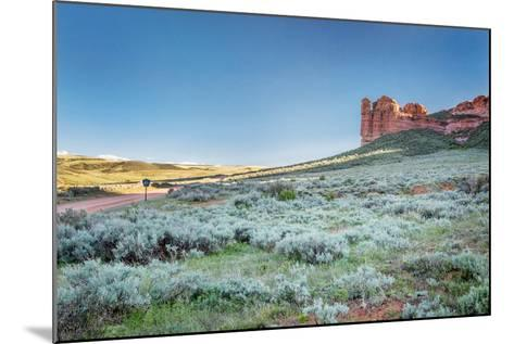 Prairie, Shrubland and Sandstone Rock Formation in Northern Colorado near Wyoming Border - Sand Cre-PixelsAway-Mounted Photographic Print