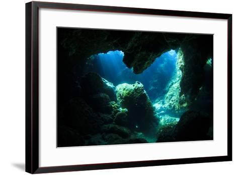 Sunlight Enters Underwater Cave like a Spotlight-Rich Carey-Framed Art Print