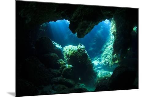 Sunlight Enters Underwater Cave like a Spotlight-Rich Carey-Mounted Photographic Print
