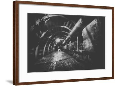 Underground Train in Mine, Carts in Gold, Silver and Copper Mine.-irontrybex-Framed Art Print