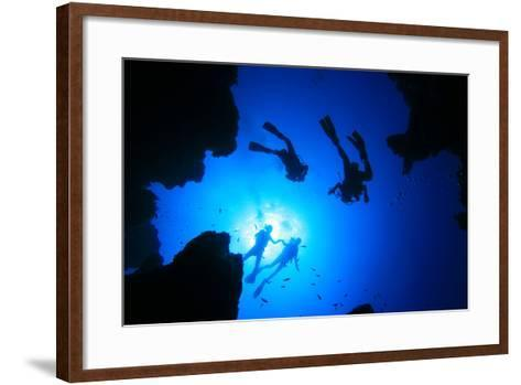 Scuba Divers about to Descend into an Underwater Canyon-Rich Carey-Framed Art Print