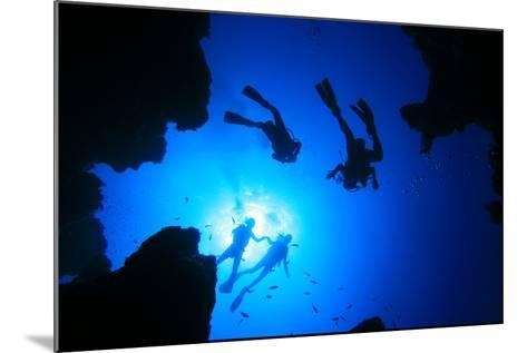 Scuba Divers about to Descend into an Underwater Canyon-Rich Carey-Mounted Photographic Print