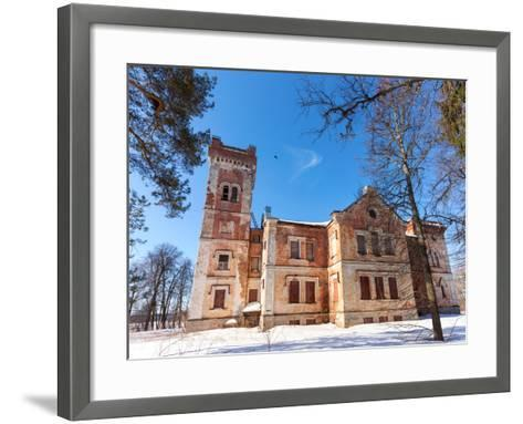 Old Brick Building on A Winter Day in Borovichi, Russia-blinow61-Framed Art Print