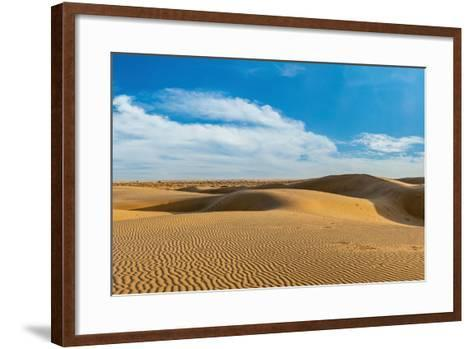 Panorama of Dunes Landscape with Dramatic Clouds in Thar Desert. Sam Sand Dunes, Rajasthan, India-f9photos-Framed Art Print
