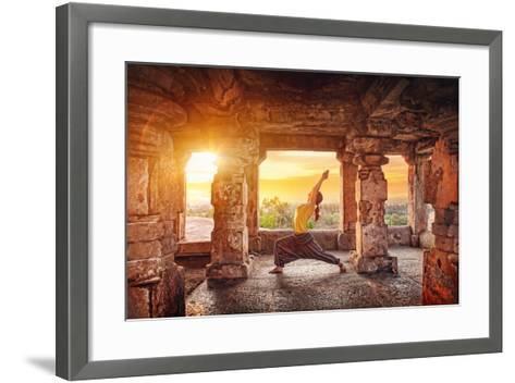 Yoga in Hampi Temple-Marina Pissarova-Framed Art Print