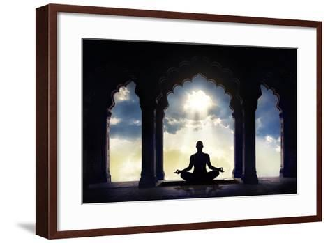 Meditating in Old Temple-Marina Pissarova-Framed Art Print