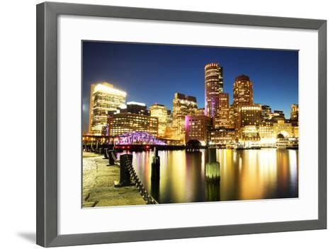 Boston Skyline with Financial District and Boston Harbor-Roman Slavik-Framed Art Print