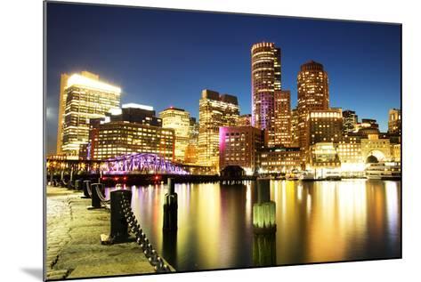 Boston Skyline with Financial District and Boston Harbor-Roman Slavik-Mounted Photographic Print