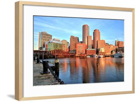Boston Skyline with Financial District and Boston Harbor at Sunrise-Roman Slavik-Framed Art Print