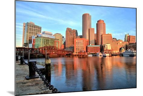 Boston Skyline with Financial District and Boston Harbor at Sunrise-Roman Slavik-Mounted Photographic Print