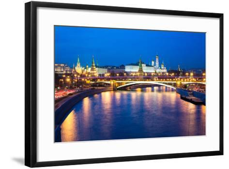 Dusk View of the Moscow Kremlin-Elena Ermakova-Framed Art Print