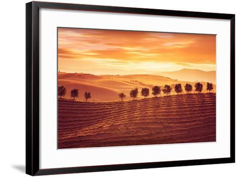 Beautiful Countryside Landscape, Amazing Orange Sunset over Golden Soil Hills, Beauty of Nature, Ag-Anna Omelchenko-Framed Art Print