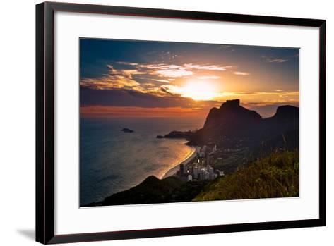Sunset behind Mountains in Rio De Janeiro-dabldy-Framed Art Print