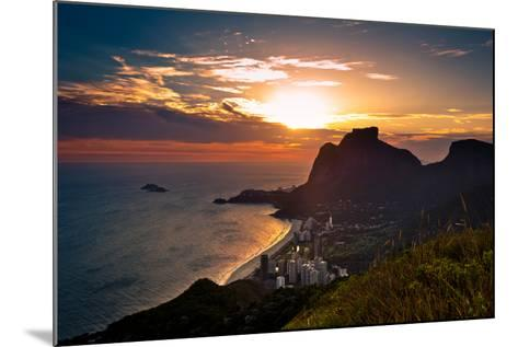 Sunset behind Mountains in Rio De Janeiro-dabldy-Mounted Photographic Print
