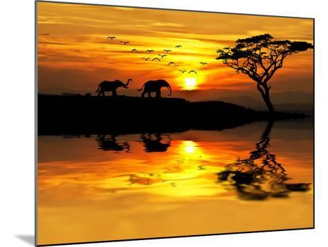 Africa Parading along the Lake-kesipun-Mounted Photographic Print