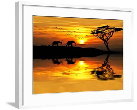 Africa Parading along the Lake-kesipun-Framed Art Print
