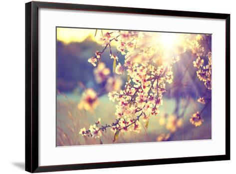 Spring Blossom Background. Beautiful Nature Scene with Blooming Tree and Sun Flare. Sunny Day. Spri-Subbotina Anna-Framed Art Print