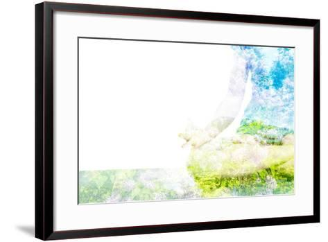 Nature Harmony Healthy Lifestyle Concept - Double Exposure Clouse up Image of Woman Doing Yoga Asa-f9photos-Framed Art Print