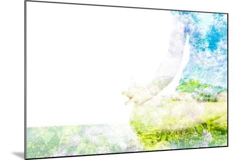 Nature Harmony Healthy Lifestyle Concept - Double Exposure Clouse up Image of Woman Doing Yoga Asa-f9photos-Mounted Photographic Print