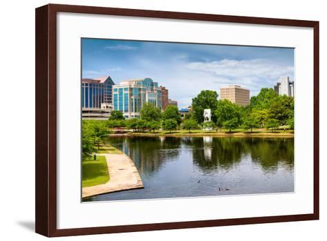 Cityscape Scene of Downtown Huntsville Alabama from Big Spring Park-Rob Hainer-Framed Art Print
