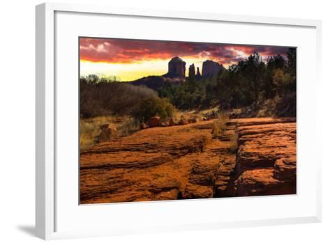 Sunset Image of Cathedral Rock.-diro-Framed Art Print