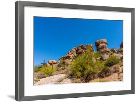 Three Crosses on a Hillside in the Arizona Desert-hpbfotos-Framed Art Print