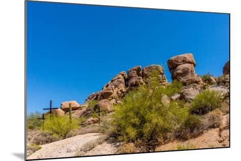 Three Crosses on a Hillside in the Arizona Desert-hpbfotos-Mounted Photographic Print