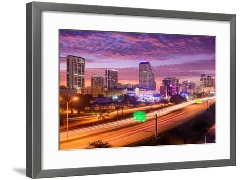 Orlando, Florida, USA Downtown Cityscape over the Highway.-SeanPavonePhoto-Framed Art Print