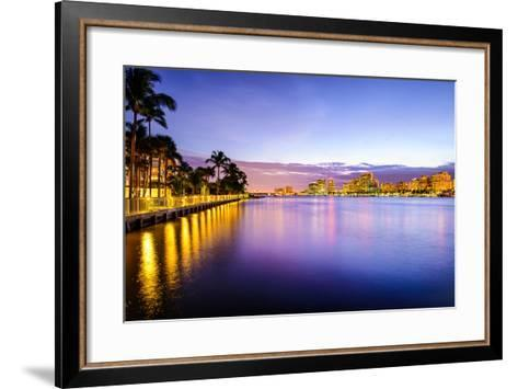 West Palm Beach Florida, USA Cityscape on the Intracoastal Waterway.-SeanPavonePhoto-Framed Art Print