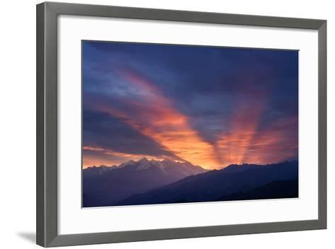 Mountain Landscape at Dawn. Beautiful Sky with Sunbeams and Clouds. View from Mount Mkheer. Zemo Sv-Kotenko-Framed Art Print