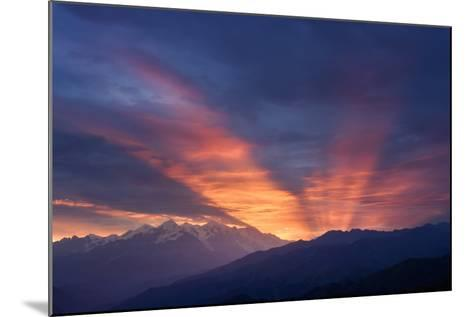 Mountain Landscape at Dawn. Beautiful Sky with Sunbeams and Clouds. View from Mount Mkheer. Zemo Sv-Kotenko-Mounted Photographic Print