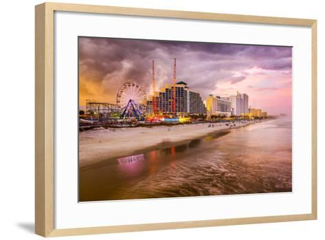 Daytona Beach, Florida, USA Beachfront Skyline.-SeanPavonePhoto-Framed Art Print
