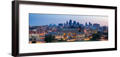 Kansas City Skyline Panorama.-rudi1976-Framed Art Print