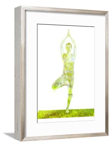 Nature Harmony Healthy Lifestyle Concept - Double Exposure Image of Woman Doing Yoga Tree Pose Asan-f9photos-Framed Art Print