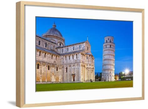 Pisa, Italy. Catherdral and the Leaning Tower of Pisa at Piazza Dei Miracoli.-Patryk Kosmider-Framed Art Print