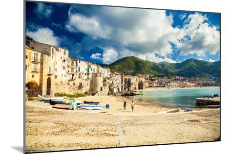 Empty Old Beach of Cefalu, Sicily-anita_bonita-Mounted Photographic Print