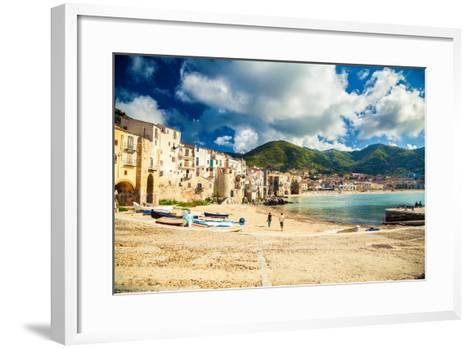 Empty Old Beach of Cefalu, Sicily-anita_bonita-Framed Art Print