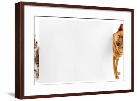 Cat and Dog Banner-websubstance-Framed Art Print