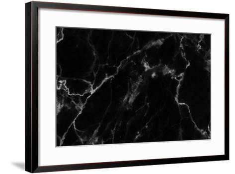 Abstract Black Marble Texture in Natural Patterned.-noppadon sangpeam-Framed Art Print
