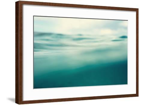 Water. Sea. Ocean, Wave close Up. Nature Background. Soft Focus. Image Toned and Noise Added.-khorzhevska-Framed Art Print