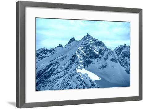 Snowy Blue Mountains in Clouds-Vakhrushev Pavel-Framed Art Print
