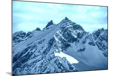 Snowy Blue Mountains in Clouds-Vakhrushev Pavel-Mounted Photographic Print