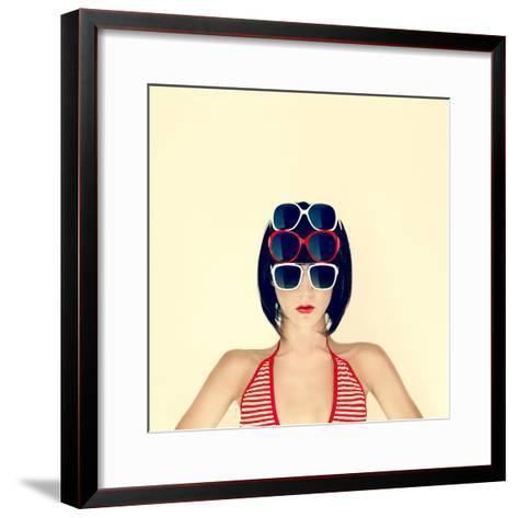 Portrait of a Young Girl in Stylish Glasses-Evgeniya Porechenskaya-Framed Art Print